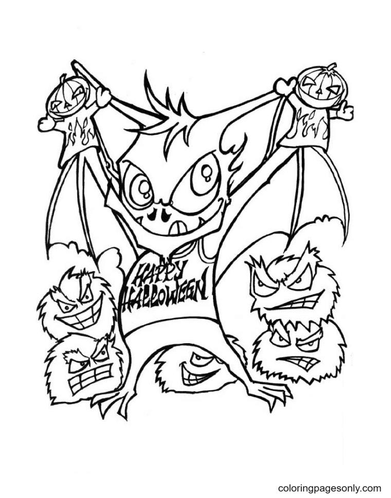 Halloween Bats And Vampire Coloring Page