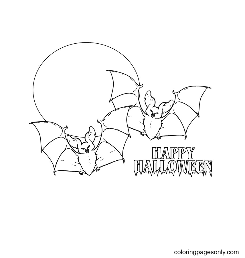 Halloween Bats Free Coloring Page