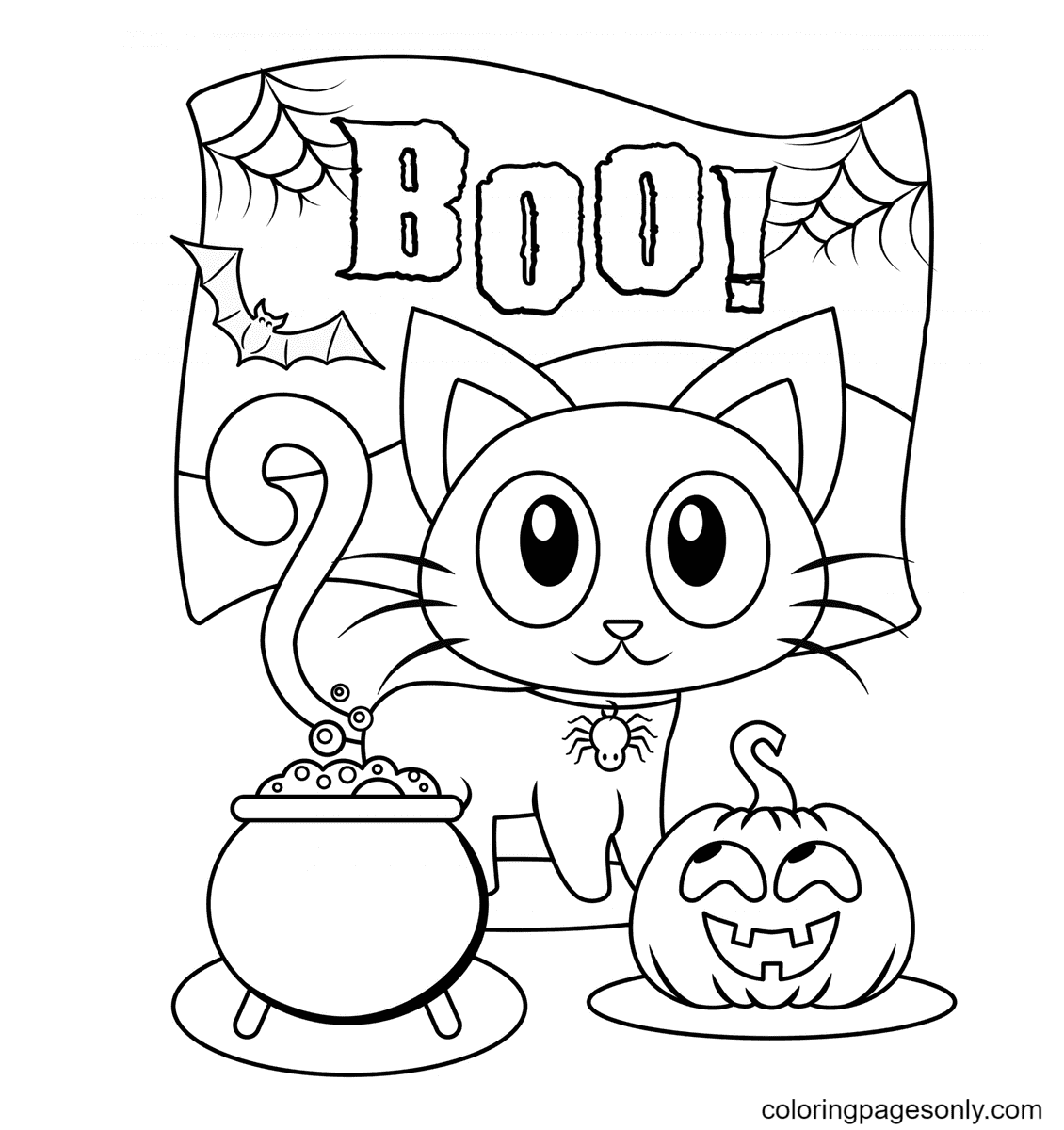 Halloween Boo Kitty Coloring Page