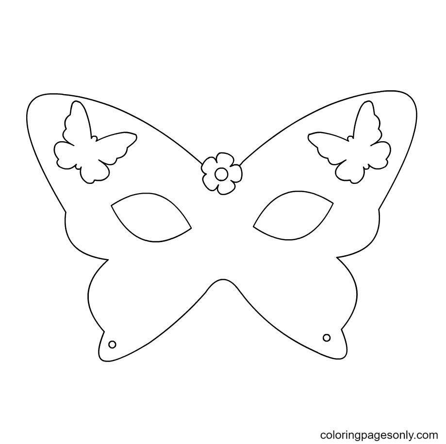 Halloween Butterfly Mask Coloring Page