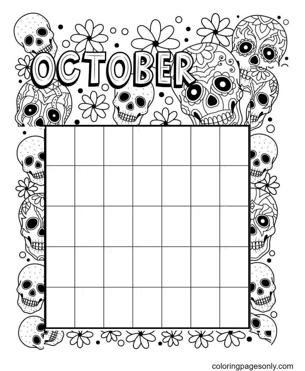 Halloween Calendar October Coloring Page