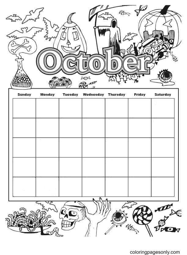 Halloween Calendar for October Coloring Page