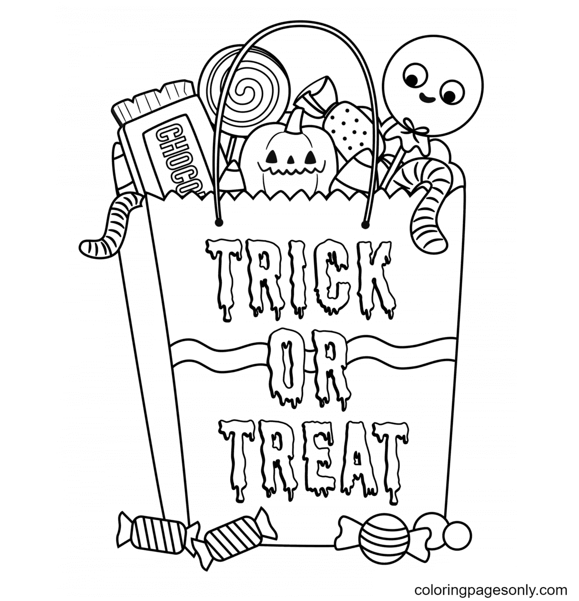 Halloween Candy Bag Coloring Page