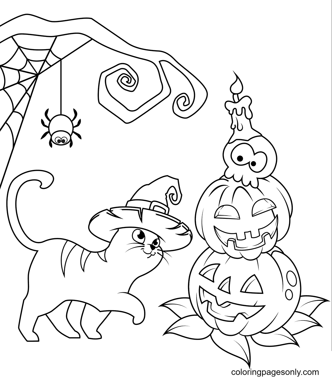 Halloween Cat and Jack O'Lantern Coloring Page