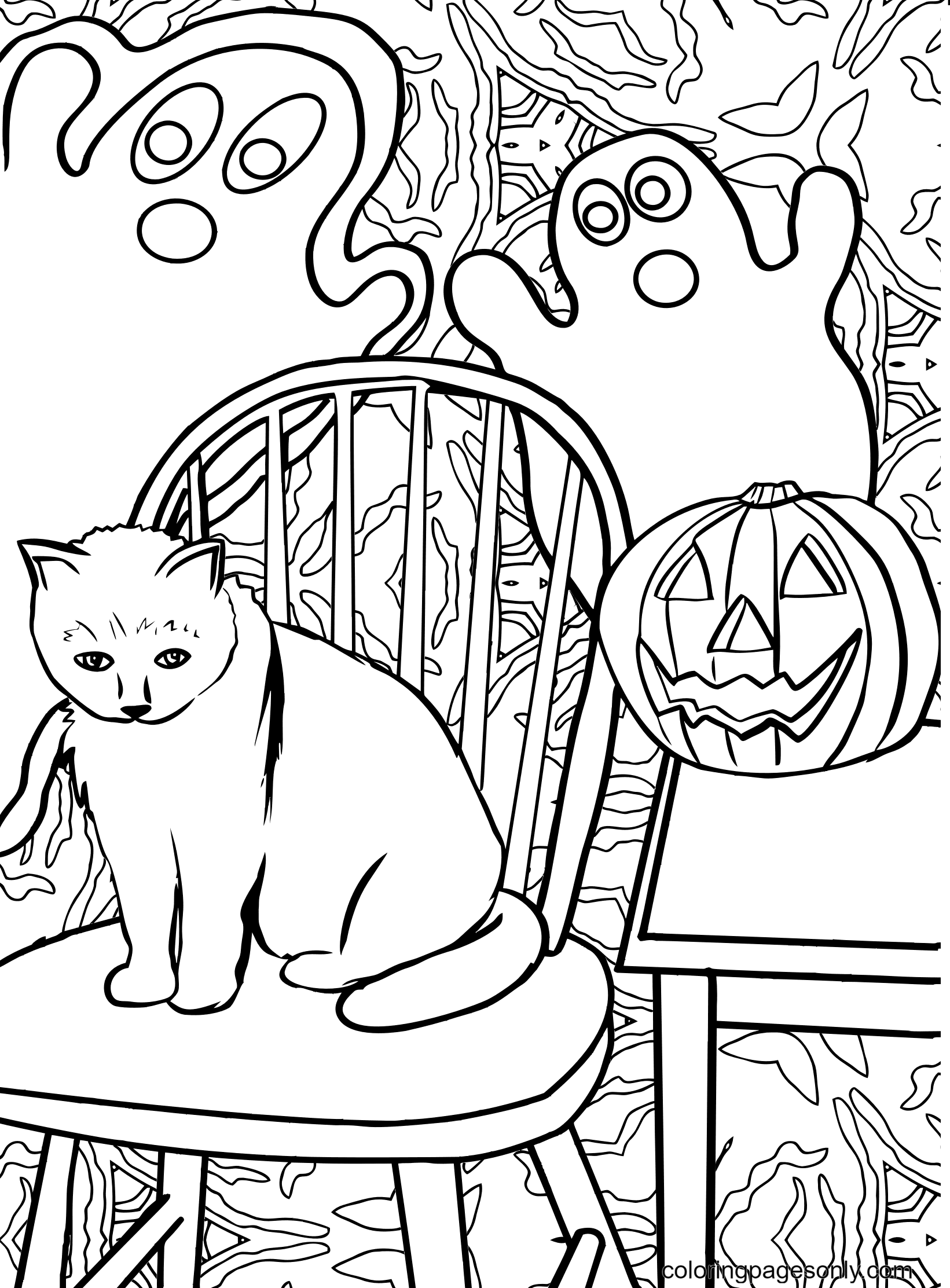 Halloween Cat with Pumpkin and Ghost Coloring Page