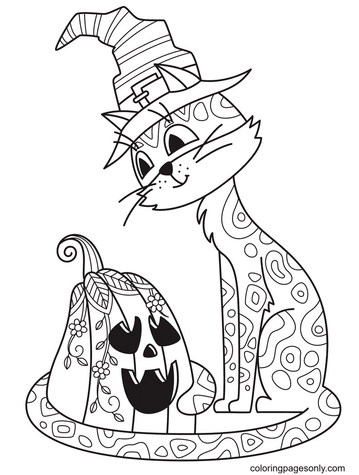 Halloween Cat with Pumpkin Coloring Page