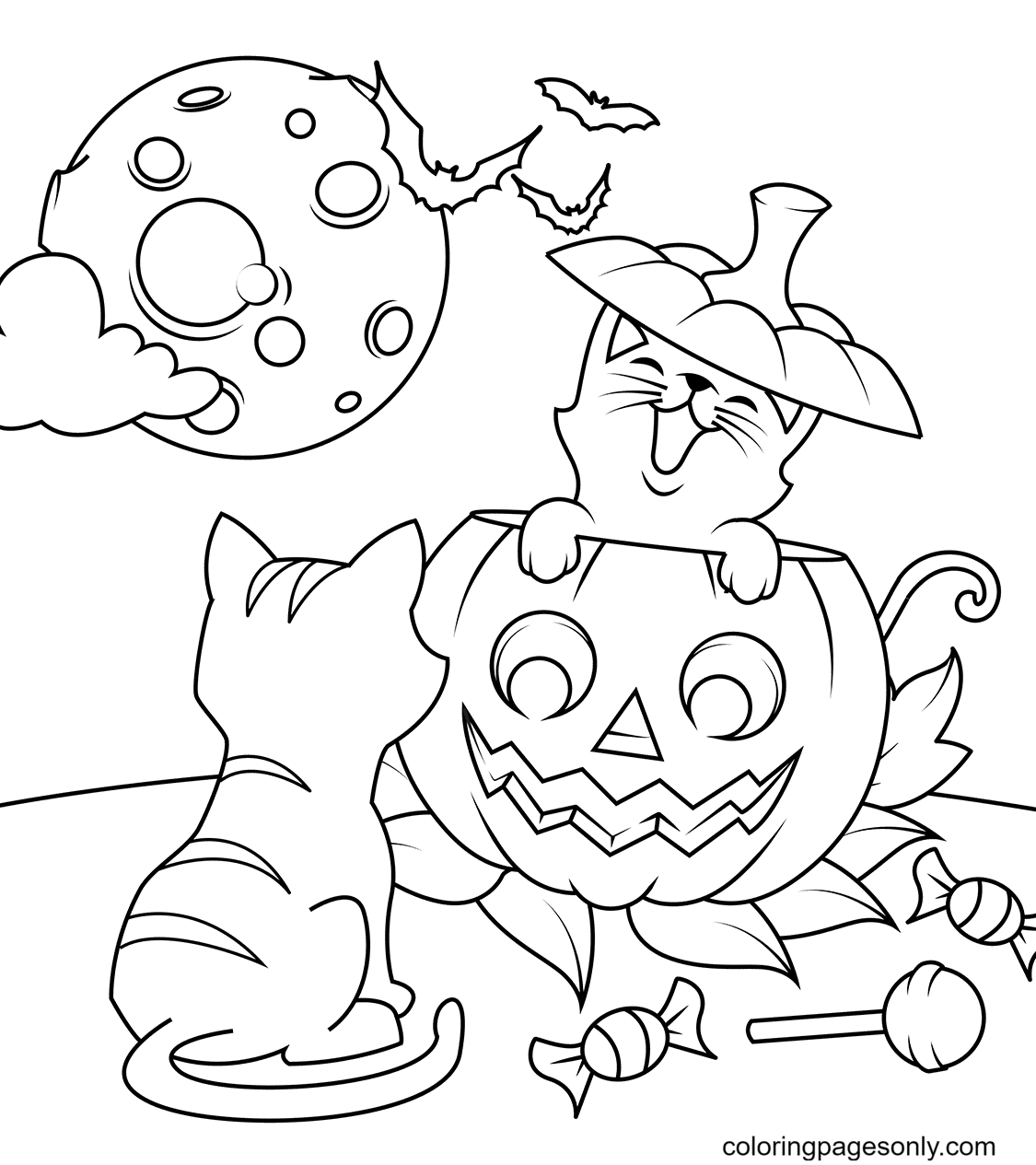 Halloween Cats and Jack O'Lantern Coloring Page