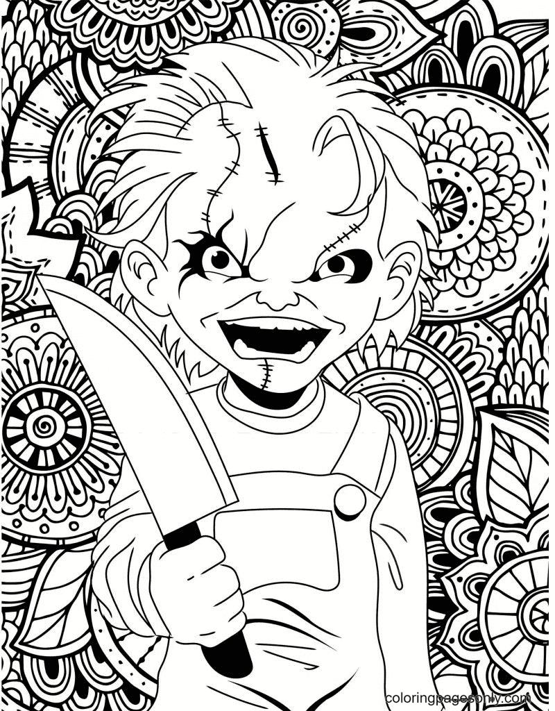 Halloween Chucky Coloring Page