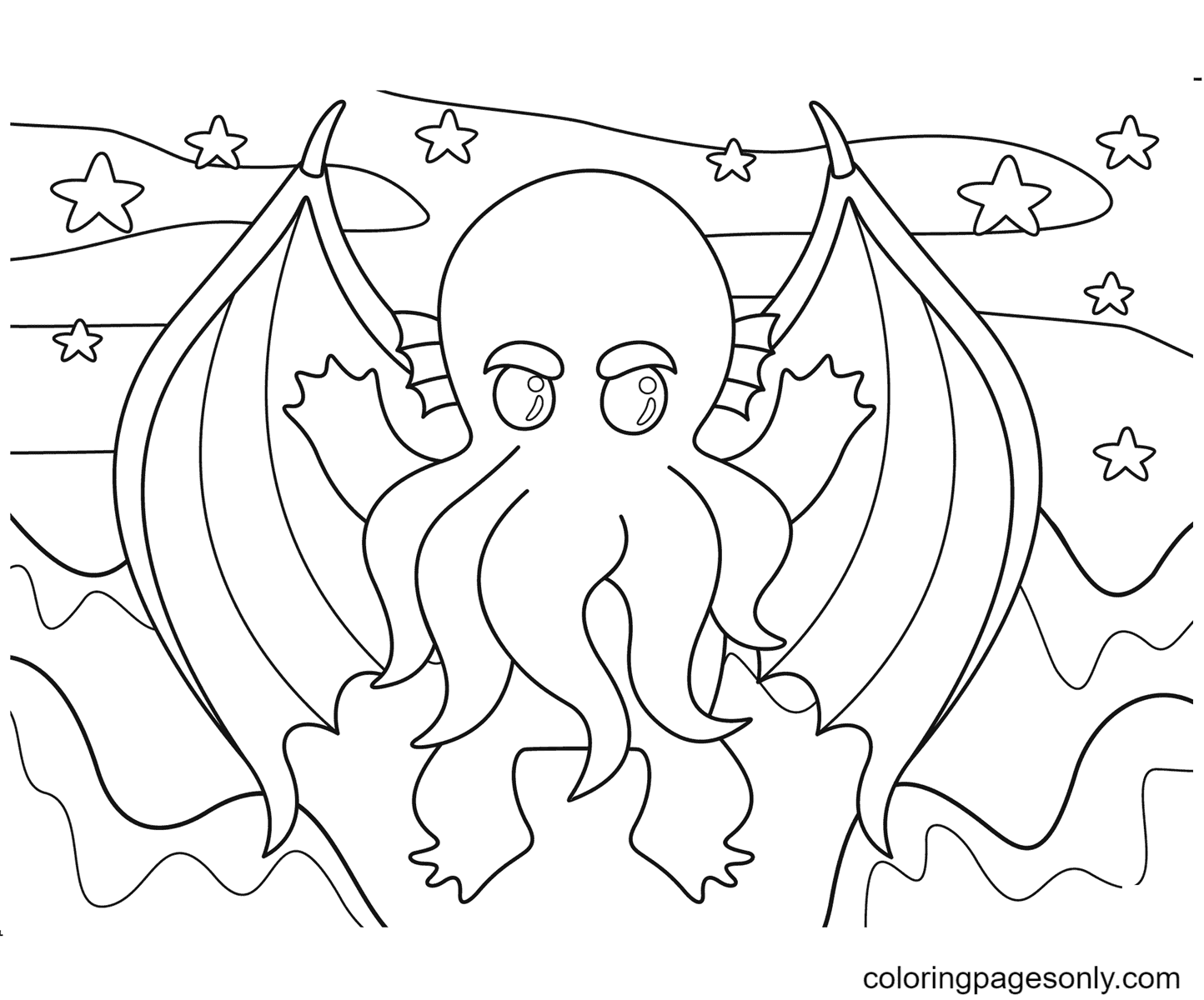 Halloween Cthulhu Coloring Page