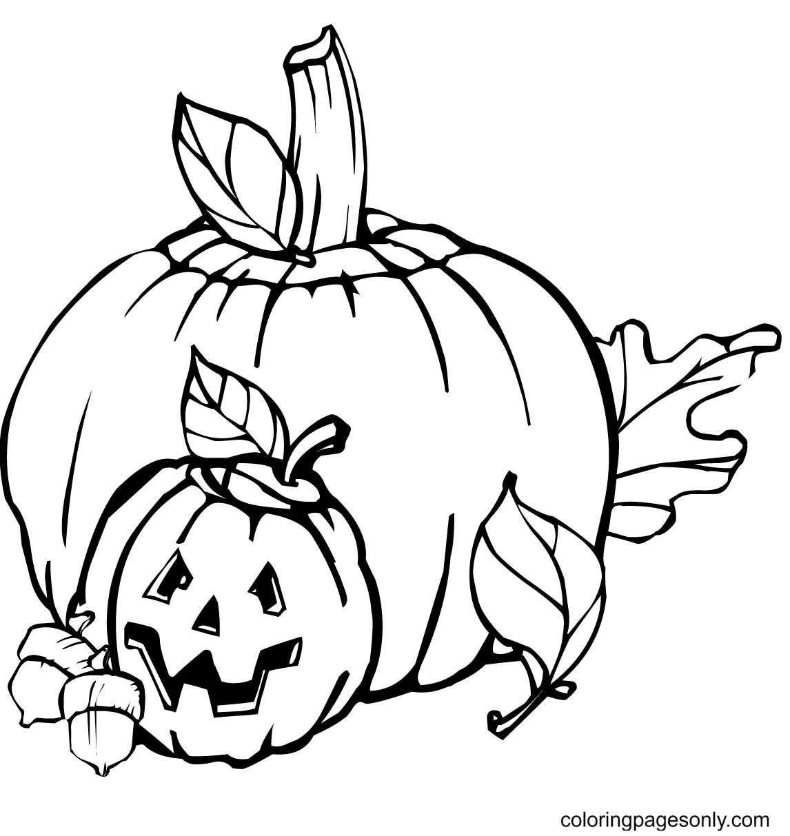 Halloween Decoration Pumpkins Coloring Page
