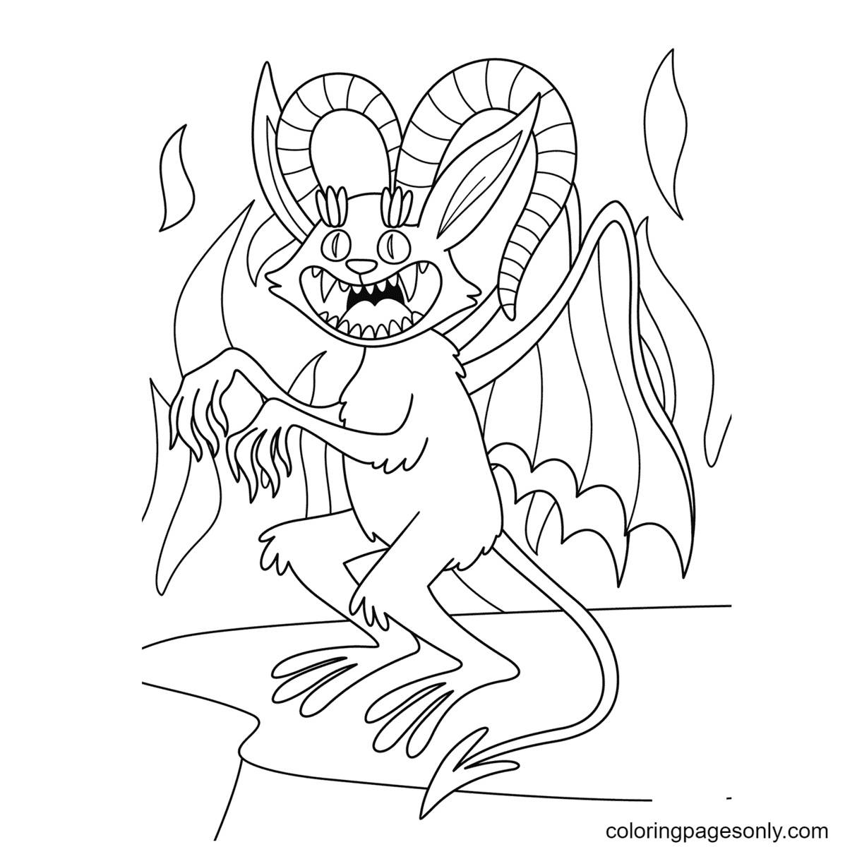 Halloween Demon Coloring Page