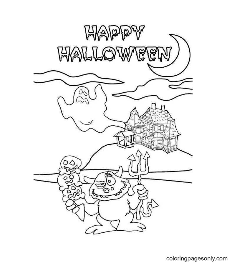 Halloween Ghost and Monsters Coloring Page