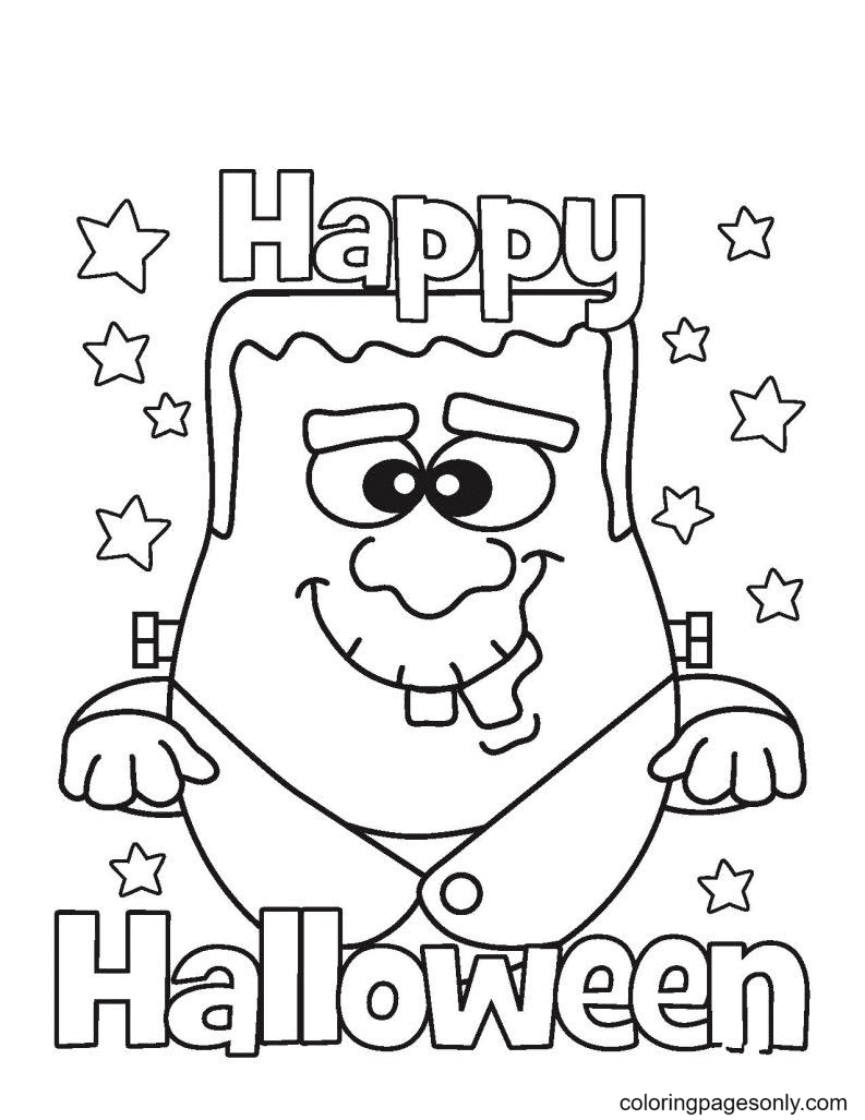 Halloween Happy Monster Coloring Page