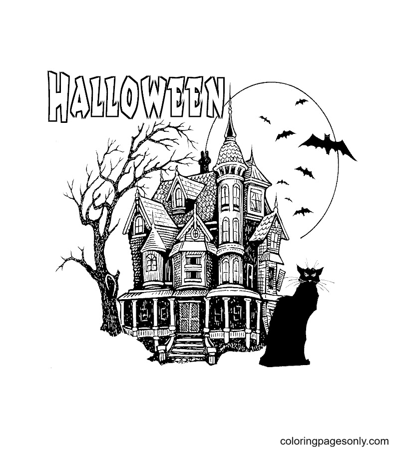 Halloween Haunted House and Black Cat Coloring Page