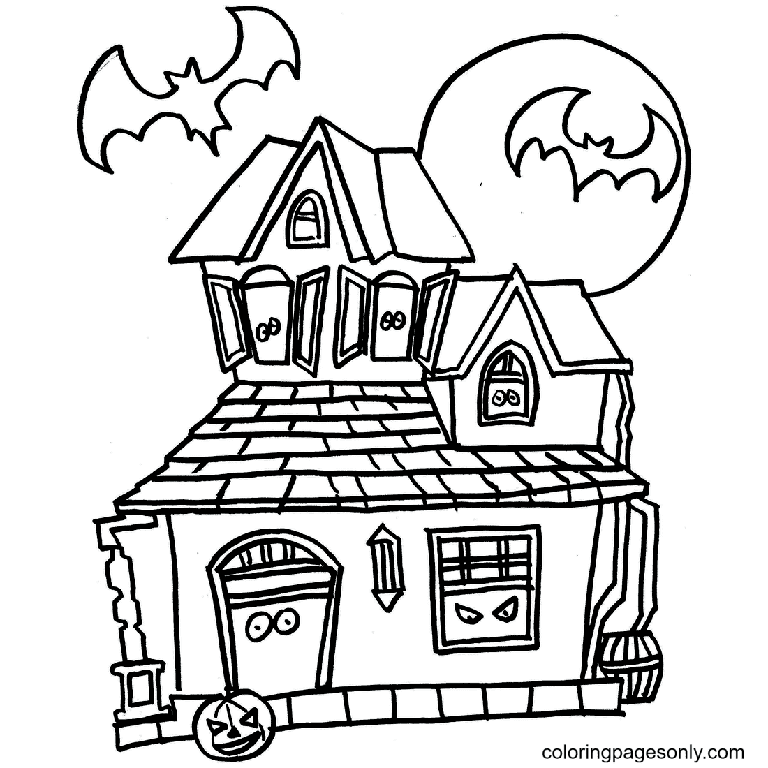 Halloween House Haunted Coloring Page