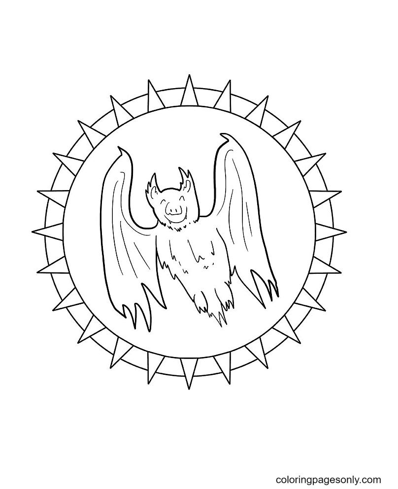 Halloween Mandala Bat Coloring Page