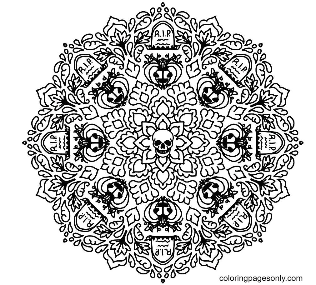 Halloween Mandala Printable Coloring Page