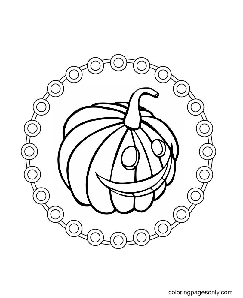 Halloween Mandala – Pumpkin Face Coloring Page