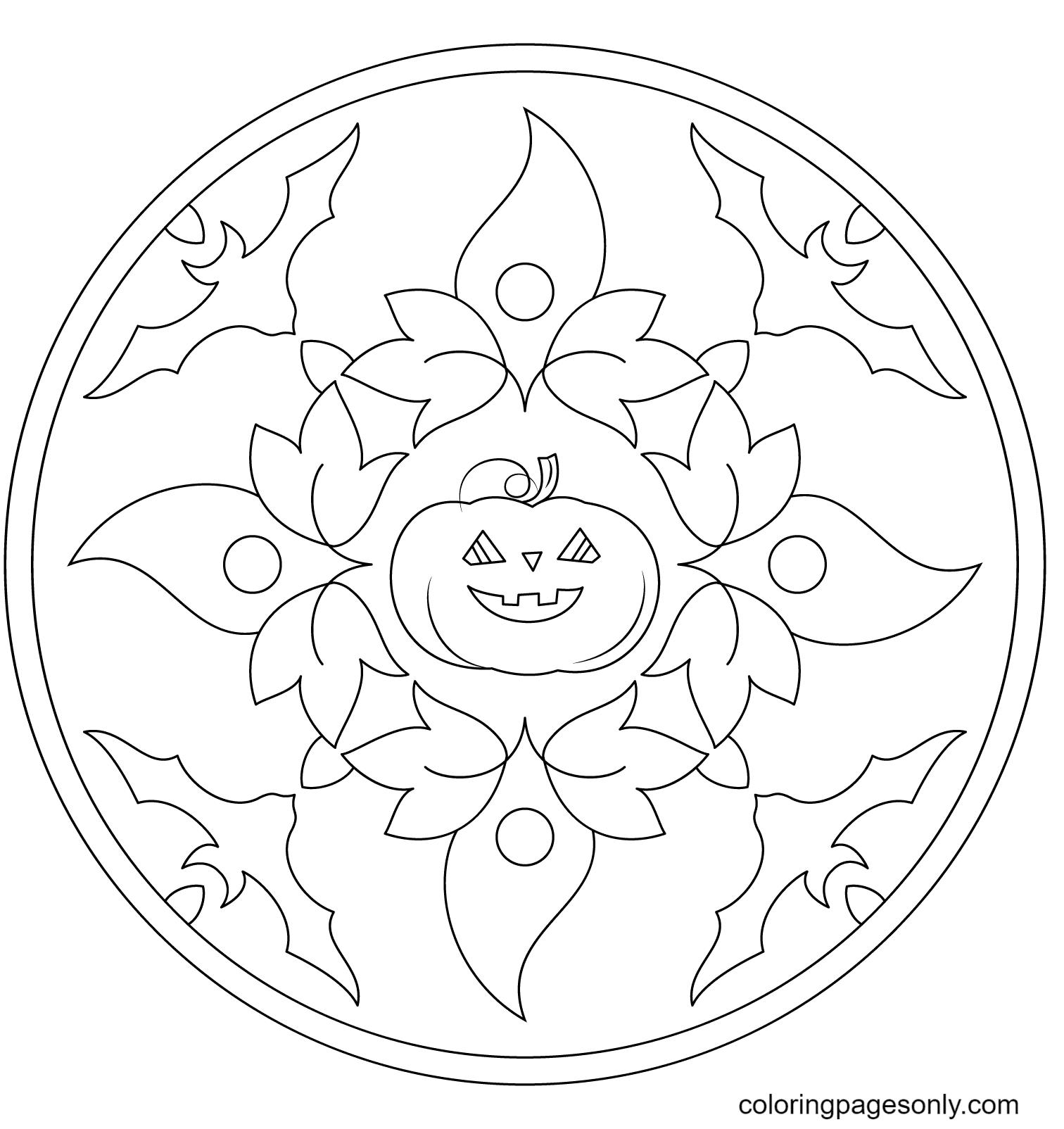 Halloween Mandala with Bats and Pumpkin Coloring Page