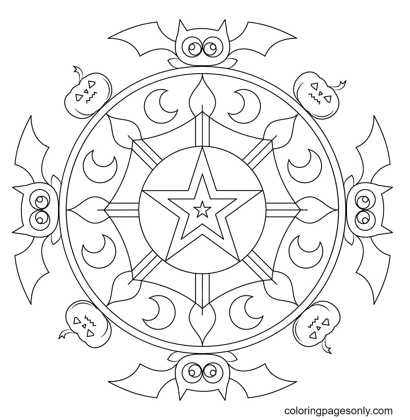 Halloween Mandala with Bats and Pumpkins Coloring Page