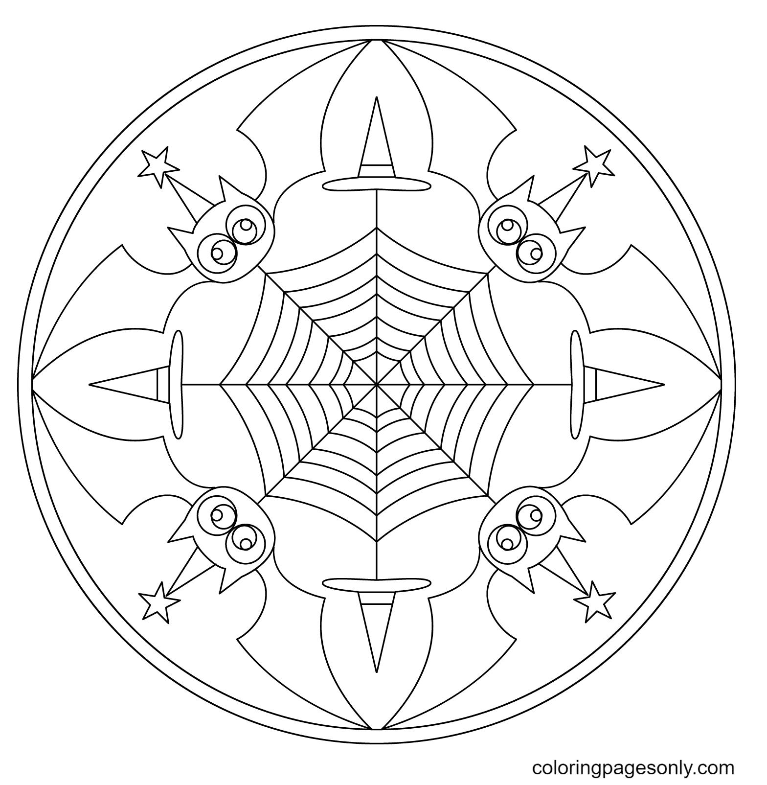 Halloween Mandala with Bats Coloring Page
