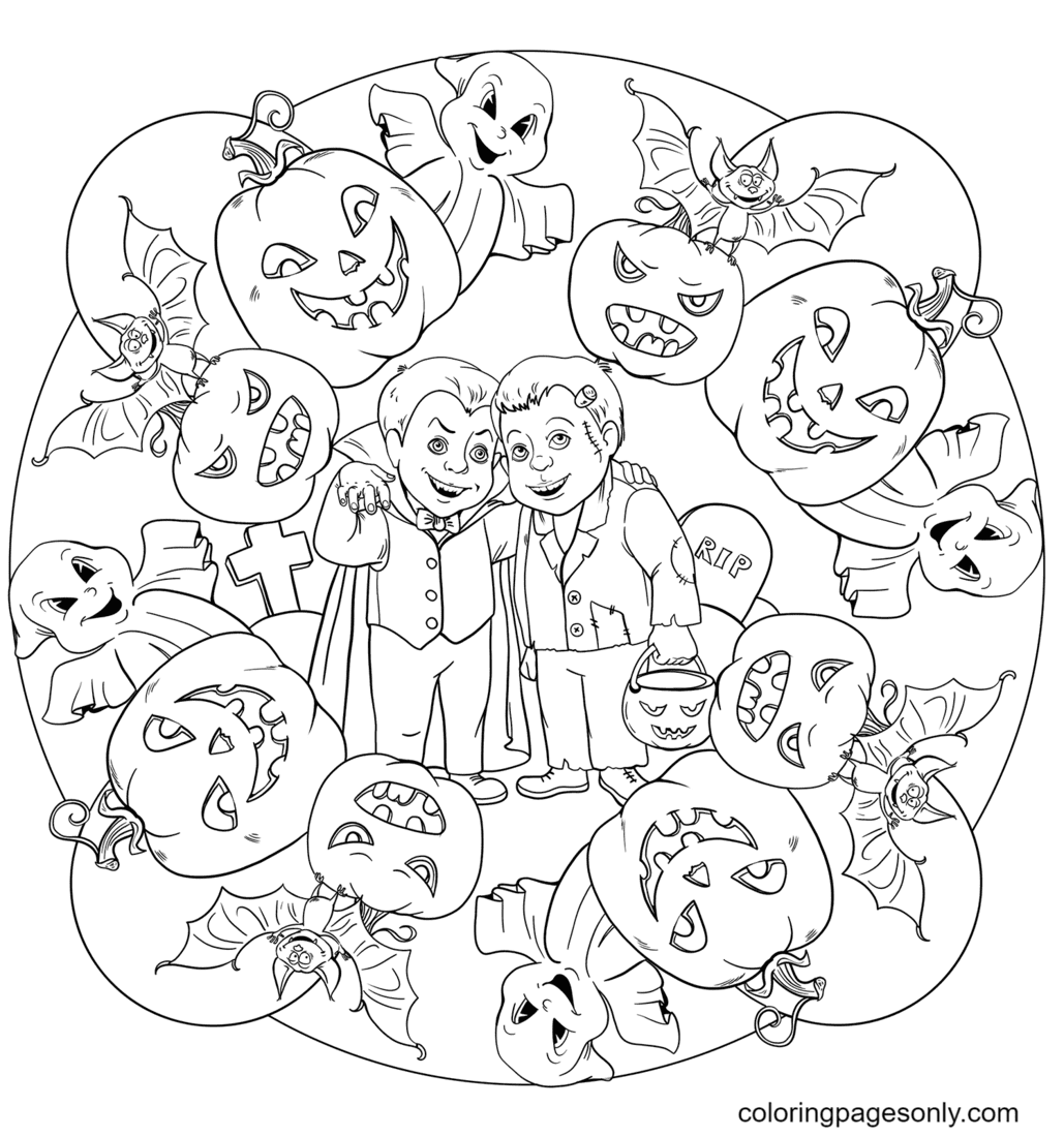 Halloween Mandala with Drakula, Frankenstein, Ghost, and Jack O Lanterns Coloring Page