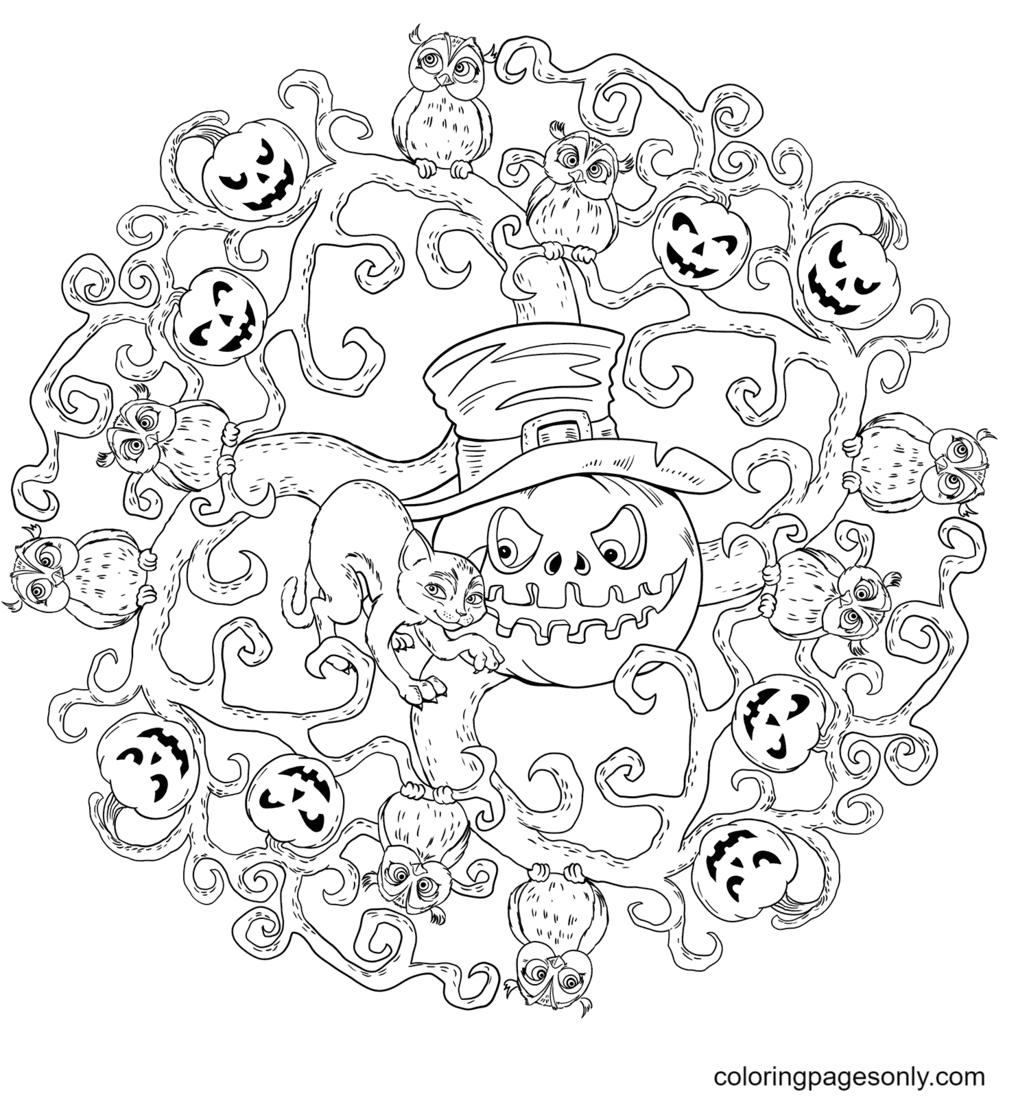 Halloween Mandala with Jack-o'-Lantern and Black Cat Coloring Page