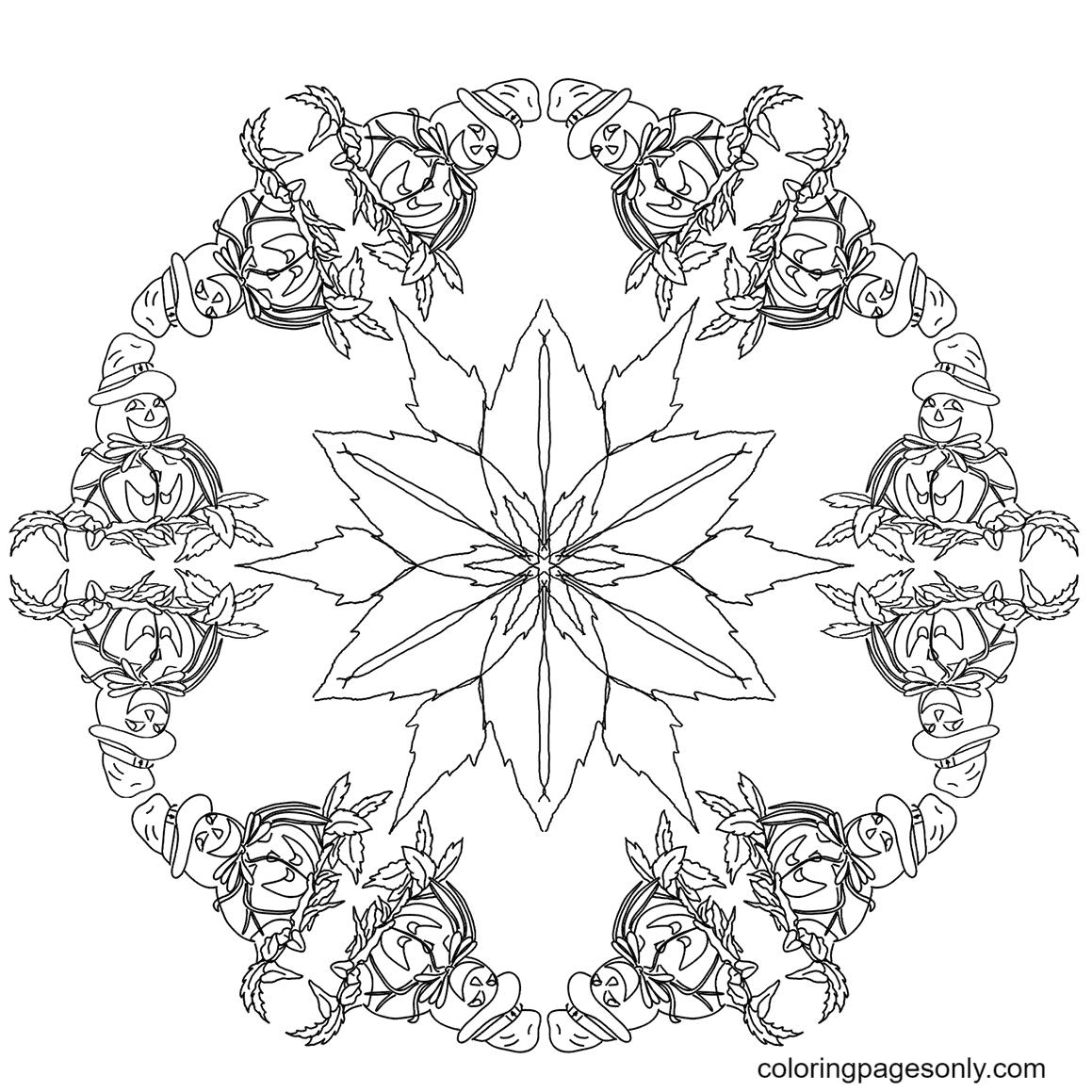 Halloween Mandala with Pumpkins Printable Coloring Page