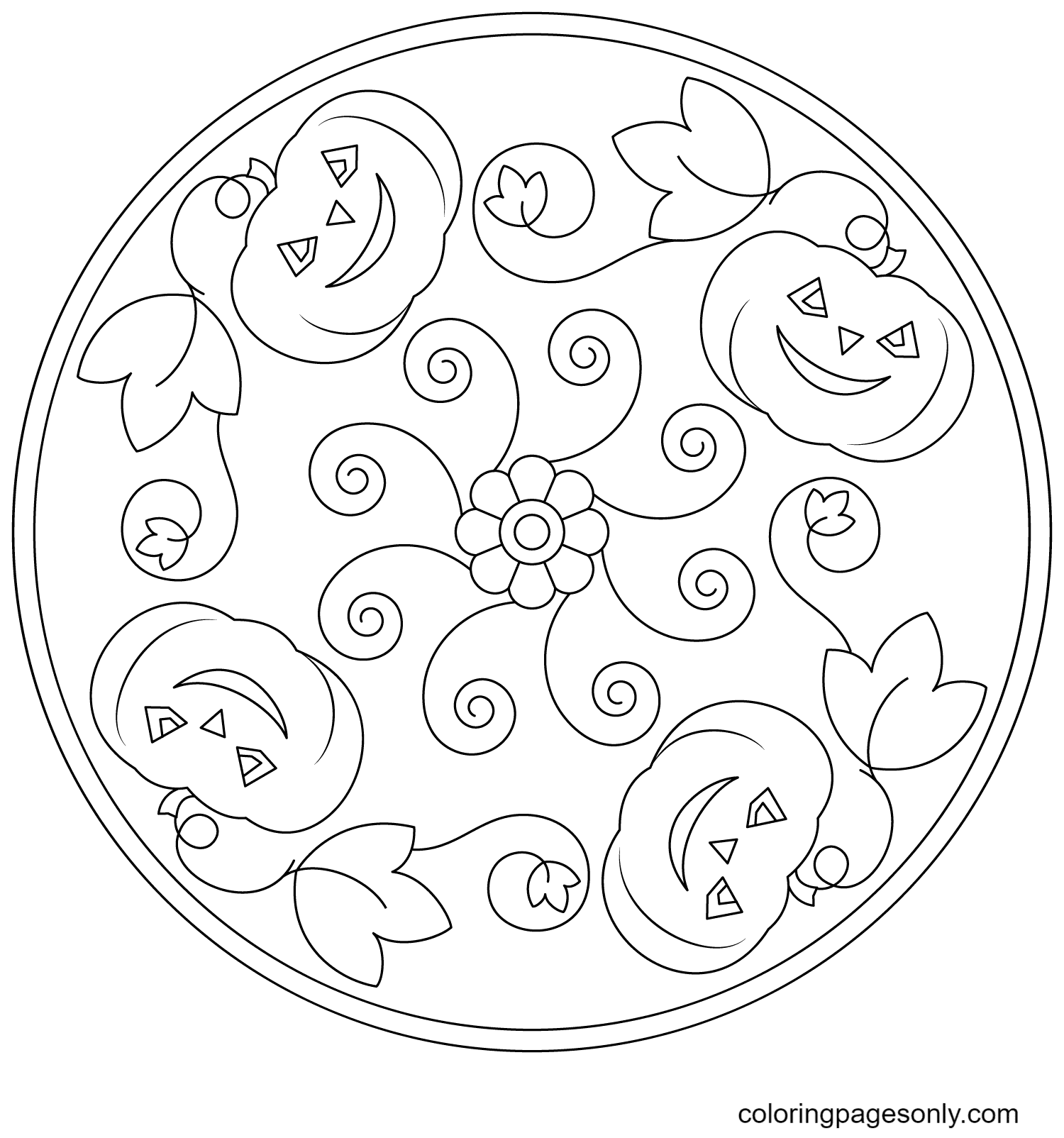 Halloween Mandala with Pumpkins and Flower Coloring Page