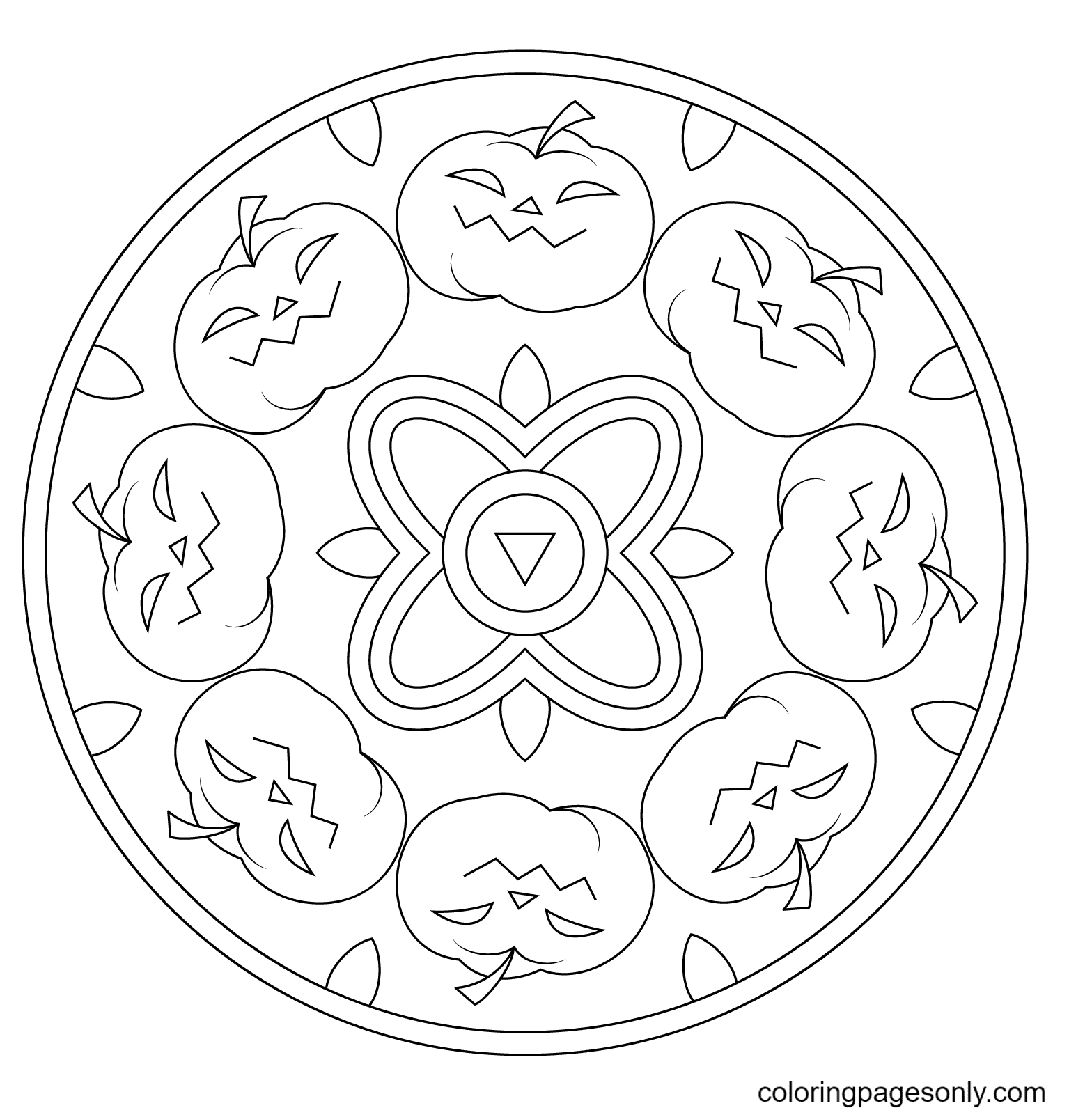 Halloween Mandala with Pumpkins Coloring Page