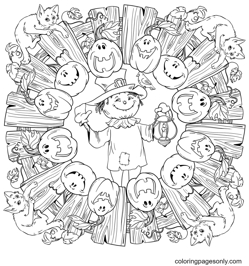 Halloween Mandala with Scarecrow, Jack-o'-Lantern and Black Cats Coloring Page