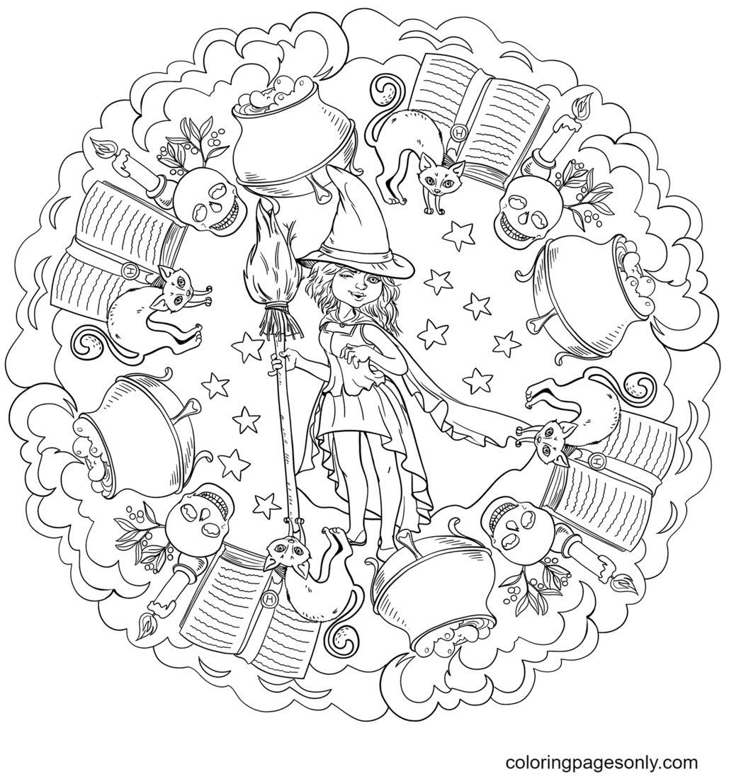 Halloween Mandala with a Cute Witch and Pot of Potion Coloring Page