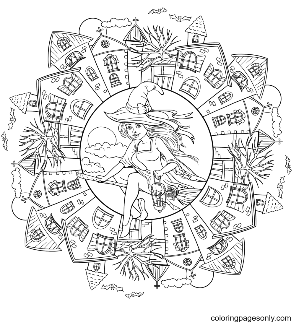 Halloween Mandala with a Witch in the Village Coloring Page
