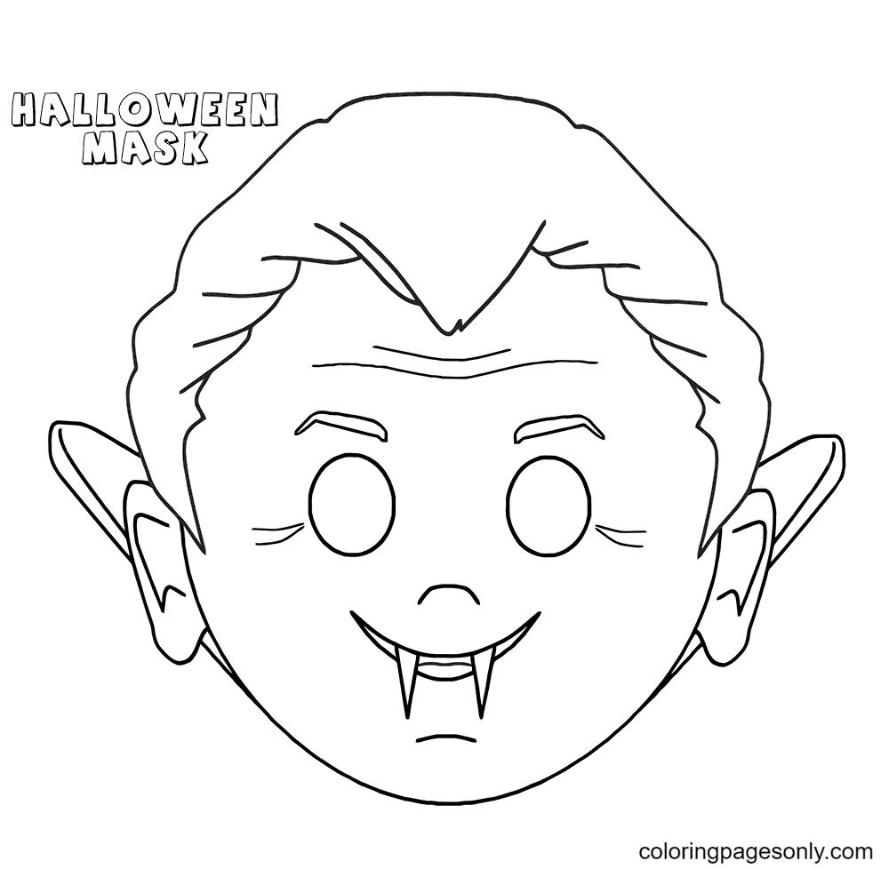 Halloween Mask Free Printable Coloring Page