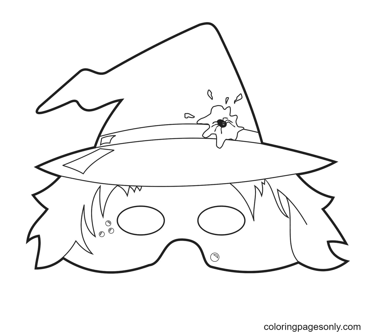 Halloween Mask Free Coloring Page