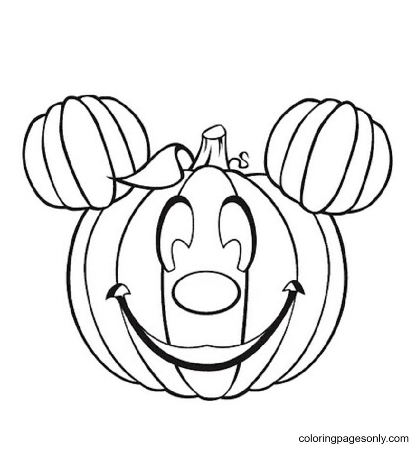 Halloween Mickey Like Pumpkin Coloring Page