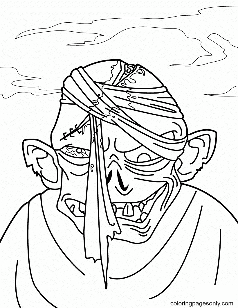 Halloween Monster Zombie Head Coloring Page