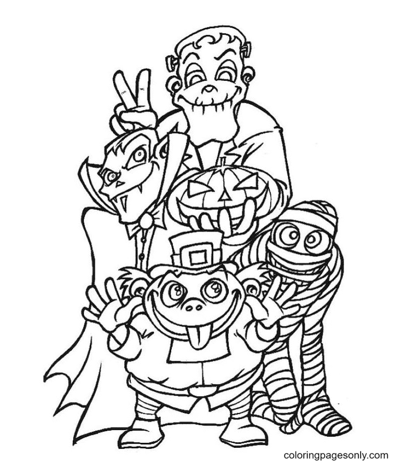 Halloween Monsters and Pumpkin Lamp Coloring Page