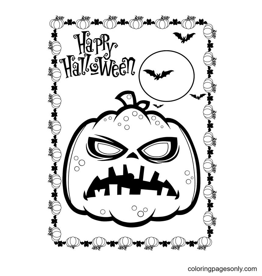 Halloween Pumpkin And Bats Coloring Page