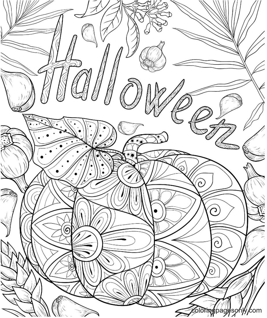 Halloween Pumpkin Garlic Coloring Page