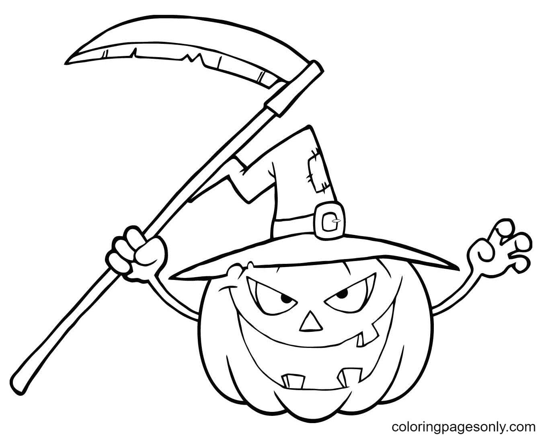 Halloween Pumpkin Grim Reaper Coloring Page