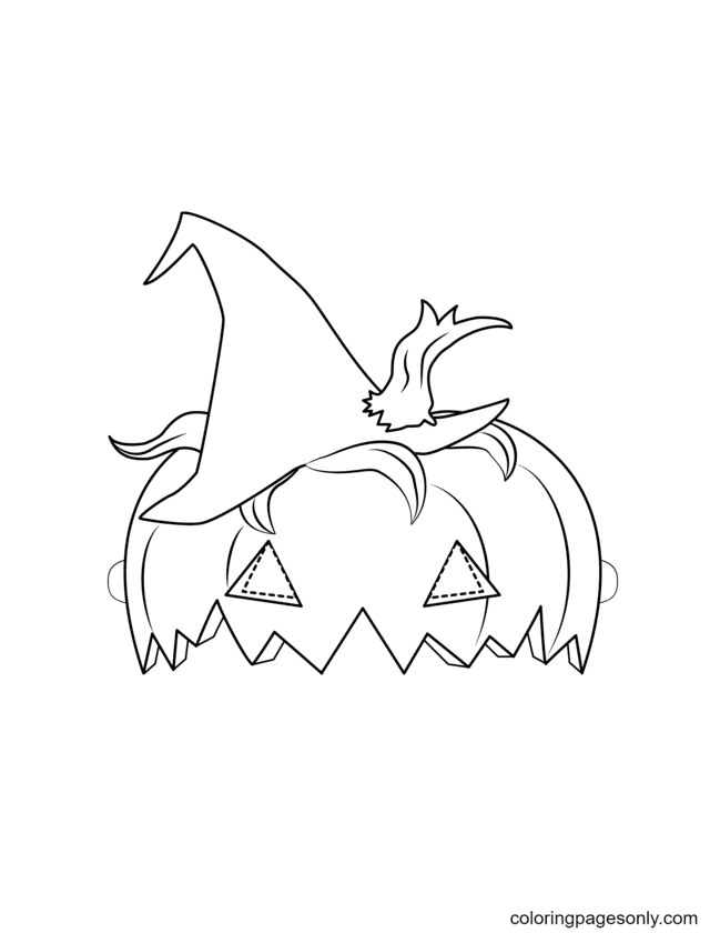 Halloween Pumpkin Mask Coloring Page