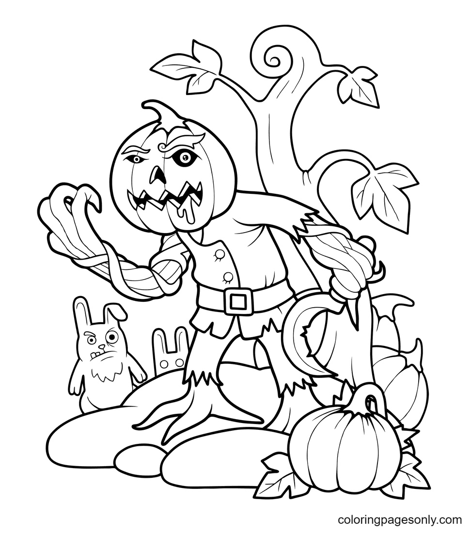 Halloween Pumpkin and Monster Coloring Page