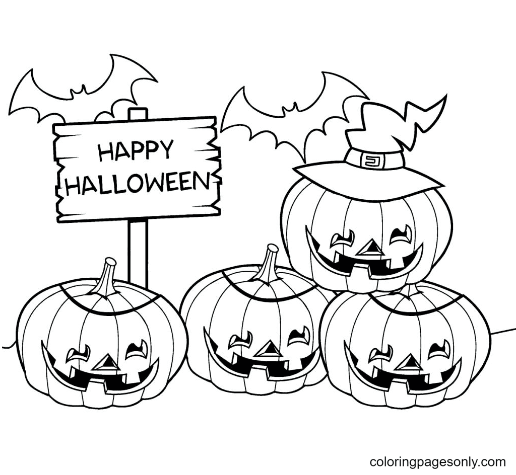 Halloween Pumpkins to print Coloring Page
