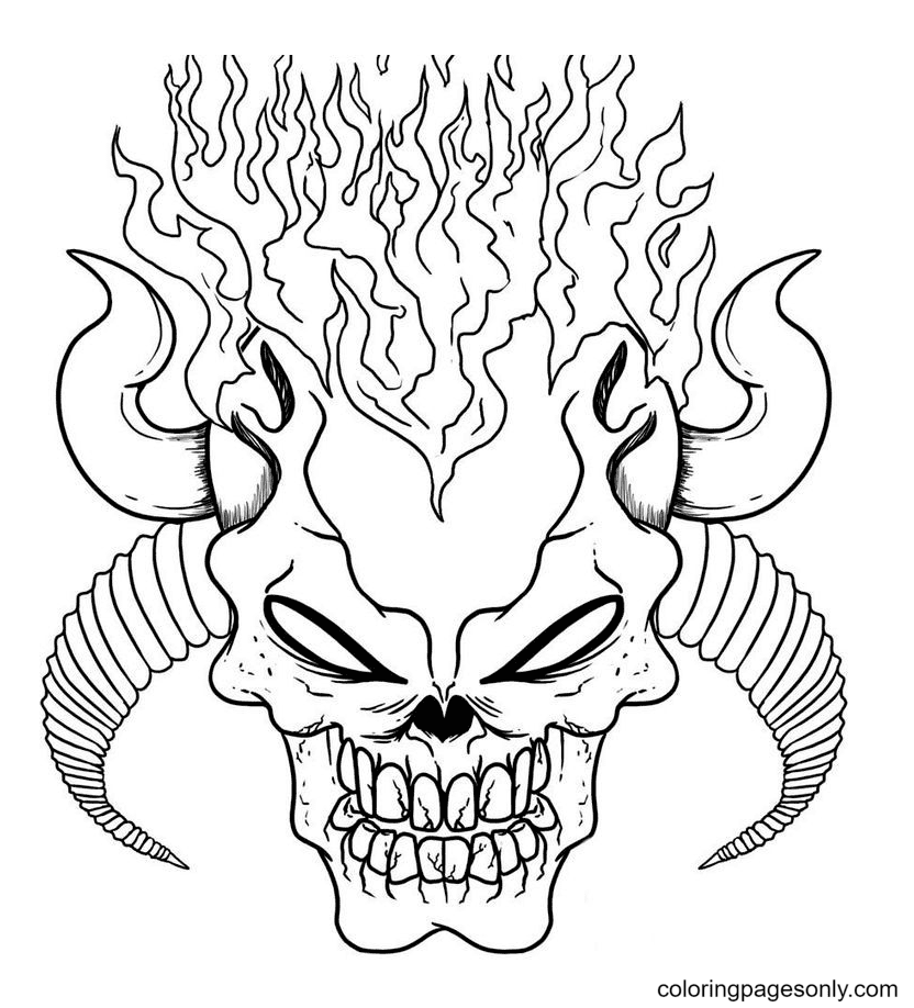 Halloween Scary Masks Coloring Page
