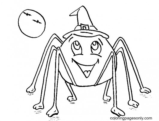 Halloween Spider Free Coloring Page