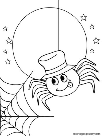 Halloween Spider Under The Moonlight Coloring Page