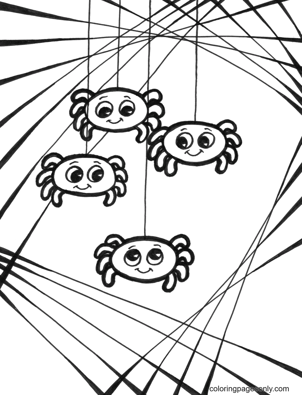 Halloween Spider Web Free Coloring Page