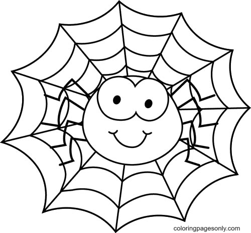 Halloween Spider Web Coloring Page