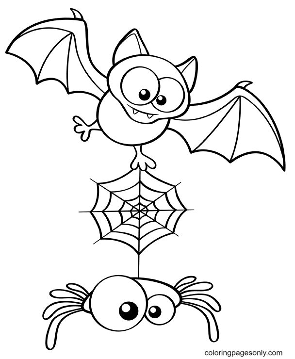 Halloween Spider and Bat Coloring Page